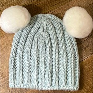 Baby Gap Winter Hat, Blue with Pom Pom Ears 0-6M